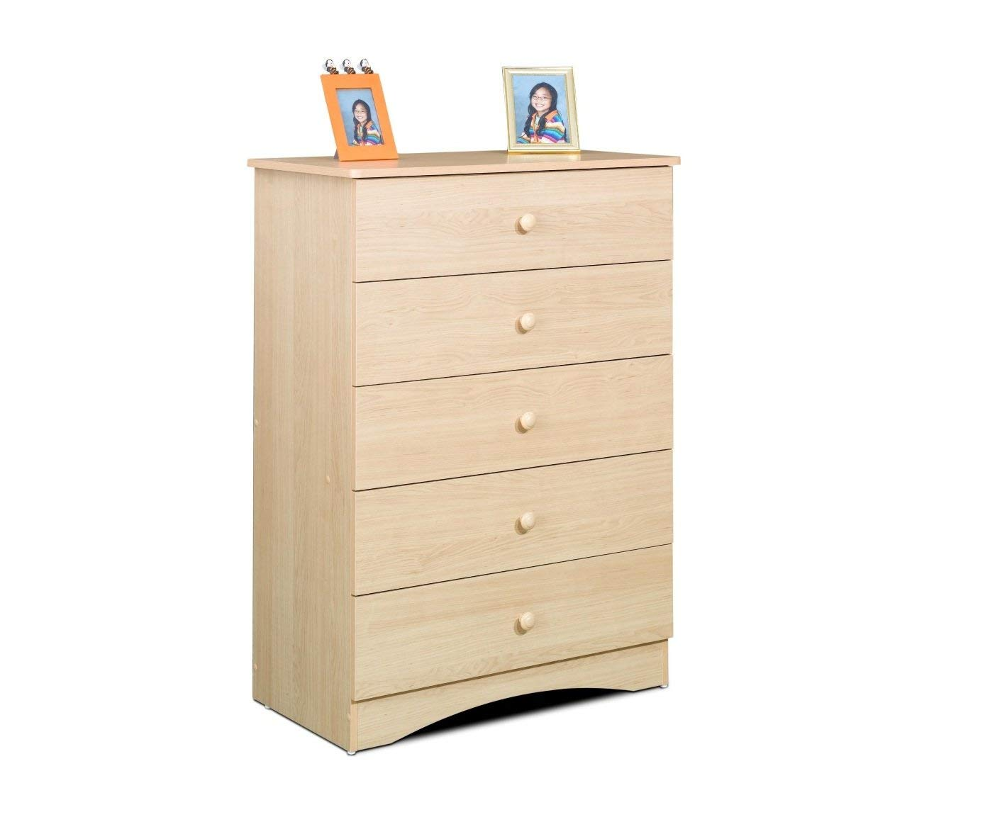 Stylish Bedroom 5 Drawer Chest With Elegant Design, Solid Wood Drawer Knob, Metal Drawer Glides, Engineered Wood Construction, Lock Quick Assembly System, Natural Maple Laminate Finish For Protection