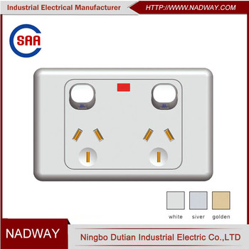 modern SAA 10A 250V double power2 gang 13 amp switched socket