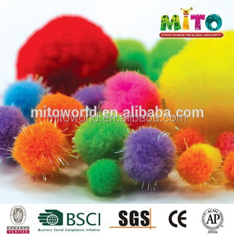 "1-1/2"" Multi bulk pom pom for kid's diy craft toy"