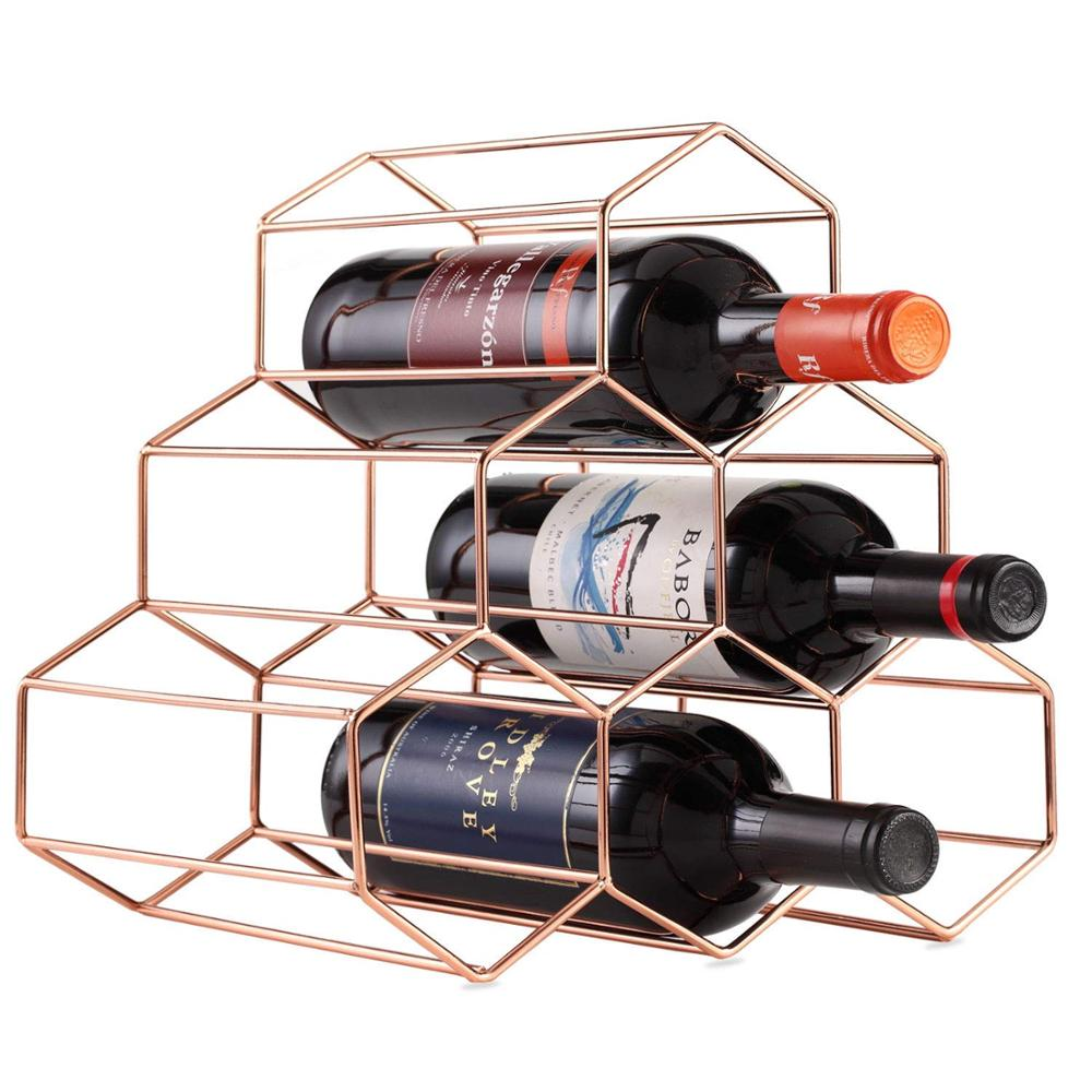 Tabletop Free Standing 6 Bottle Novelty Gold Metal Red Wine Rack