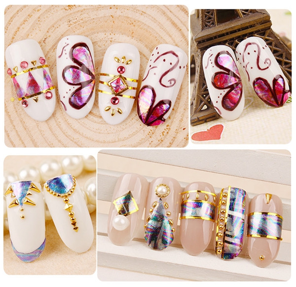 Diy Laser Glass Paper Nail Stickers,Wraps Decorations Shine Colorful ...