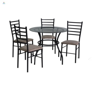 Round Metal Glass Dining Table 4 Chairs Sets Wholesale Buy Metal Dining Sets Dining Table Sets Round Glass And Metal Dining Room Table And Chairs Product On Alibaba Com