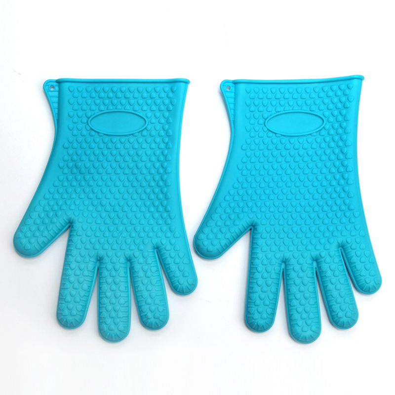 manufacturer Kitchen Cooking Gloves Microwave Oven Non-slip Mitt Heat Resistant Silicone Gloves Cooking Baking BBQ Gloves Five