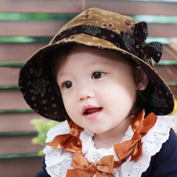 New Arrival Cute Toddlers Girls Sun Hat Kids Flowers Beach Sun Bucket Brim Bowknot Cotton Hat