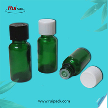 20ml Green glass bottle with child proof cap, 20cc glass essential oil container with plastic lids