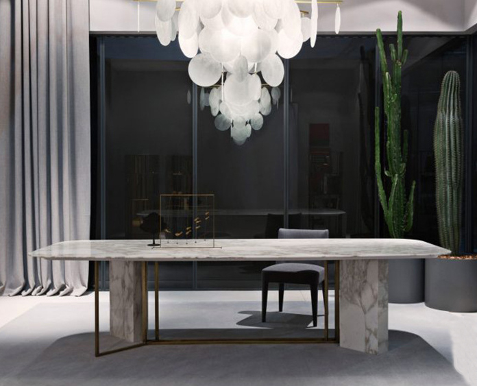 Northern Europe luxury rectangle marble top dining table