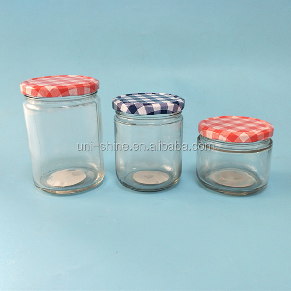 Clear glass mason jar with tin-plate cap