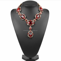 fashion europe trends jewelry amazing large crystal metal statement necklace chunky jewelry