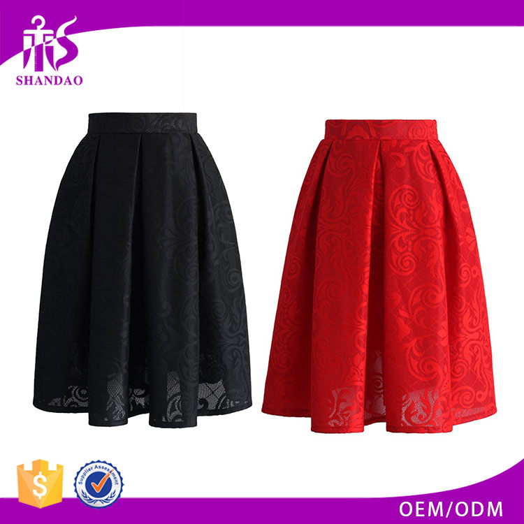 2016 Guangzhou Shandao Brand Name Bulk Wholesale Women Summer Black Knee Length Pleated A Line Embroidered Cotton Midi Skirt