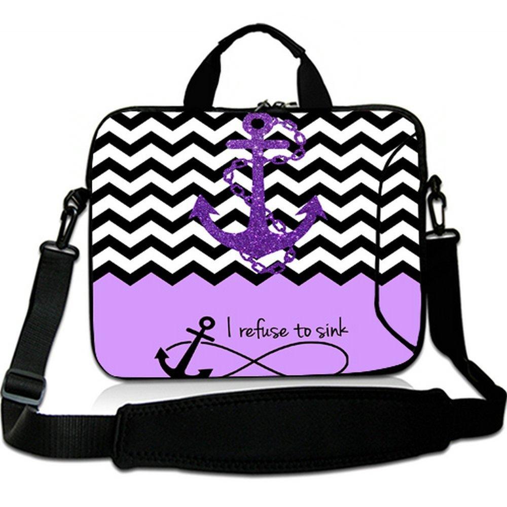 Wondertify Purple Block Chevron Zigzag Infinity Anchor Laptop Shoulder Bag Briefcase,15-15.6 Inch Waterproof Neoprene Laptop Case for Macbook Pro/Macbook air/Acer/Asus/Dell