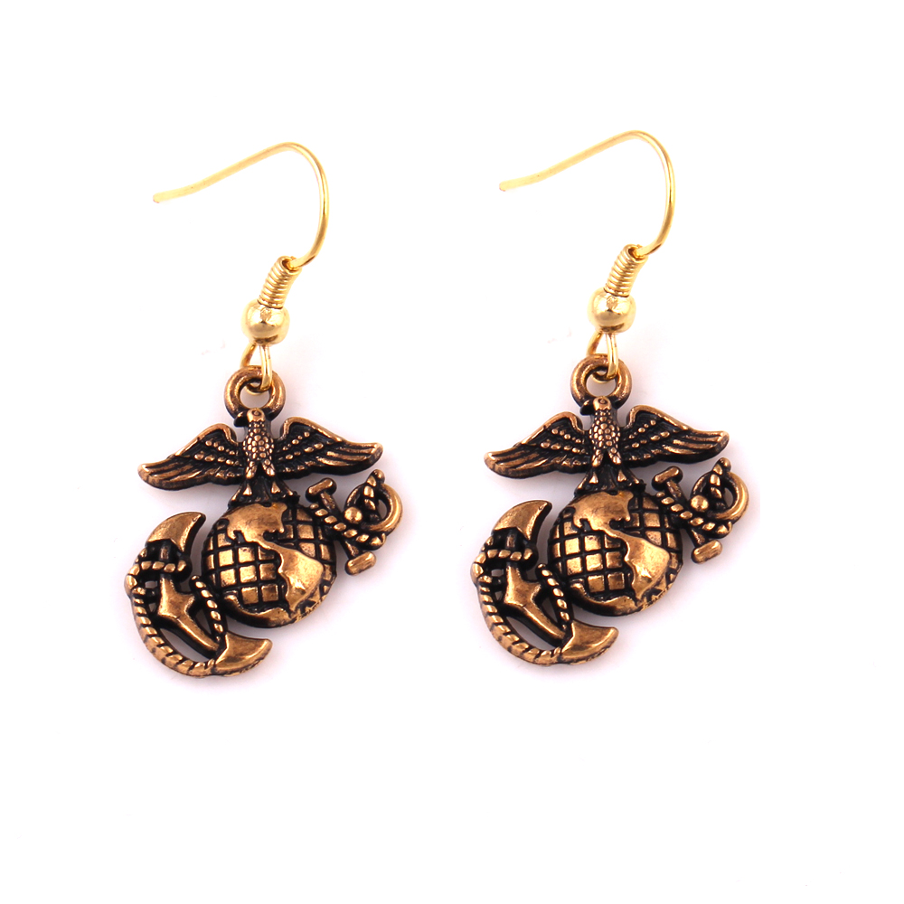 HL0010 Huilin Jewelry Bronze USMC marine insignia anchor eagle globe charm necklace pendant or earrings vintage style