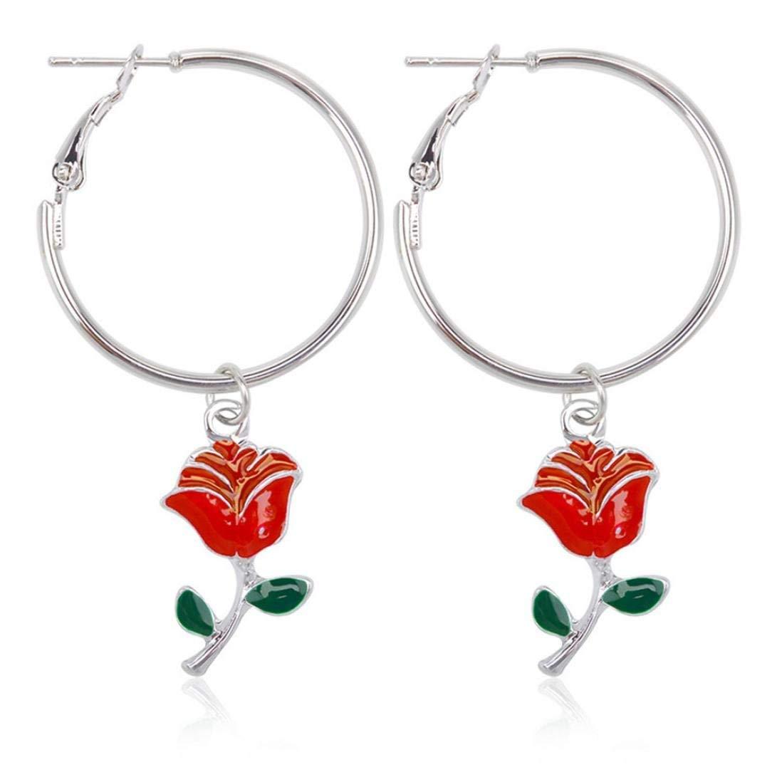 Gyoume Girls Cute Flower Dangle Earrings Hoop Earrings Rose Earrings Jewelry for Women