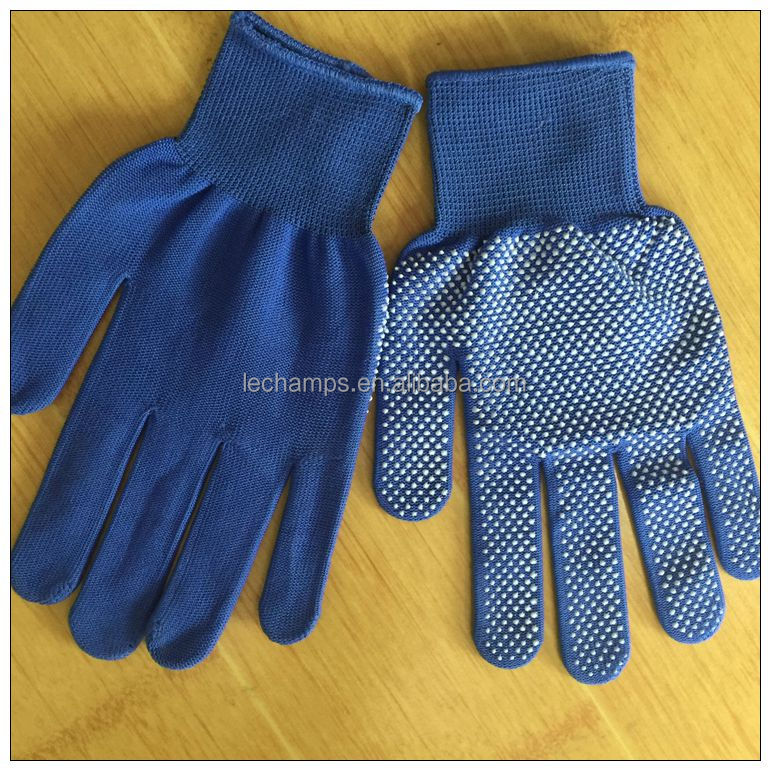Blue Polyester Micro PVC Dotted Glove ,factory gloves,safety working gloves