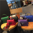 2019 women's rivet handbag fashion matte PVC jelly bag trendy color single shoulder bag ladies