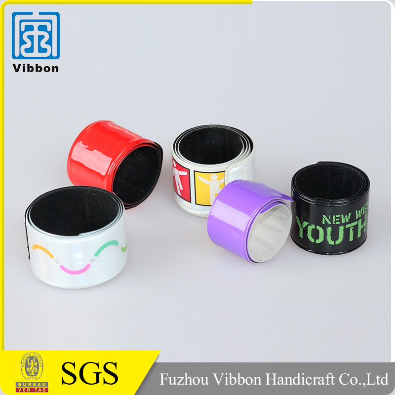 2016 fashional printed reflective slap wristbands for promotional gifts
