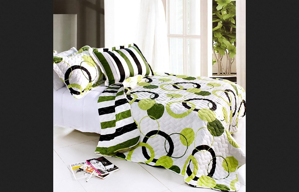 Blancho Bedding 100% Cotton Full/Queen Size Artistic Green 3PC Vermicelli-Quilted Circle Printed Quilt Set
