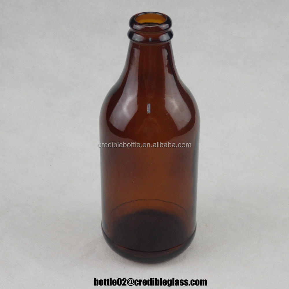 wholesale 300ml 10oz amber glass beverage beer bottles with crown cap