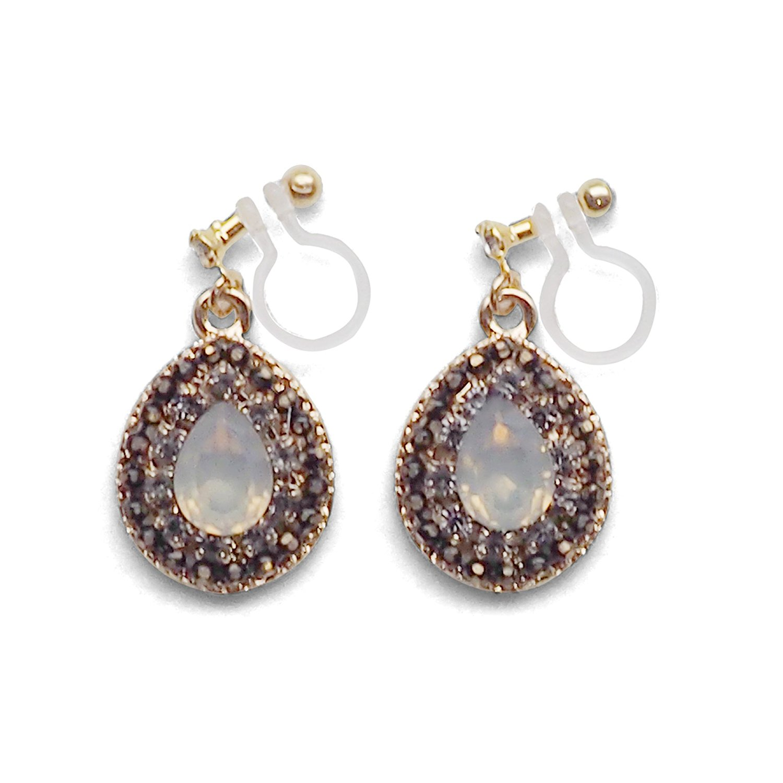 Teardrop White Rhinestone Invisible Clip On Drop Earrings, Black Crystal Drop Clip-on Dangle Earrings