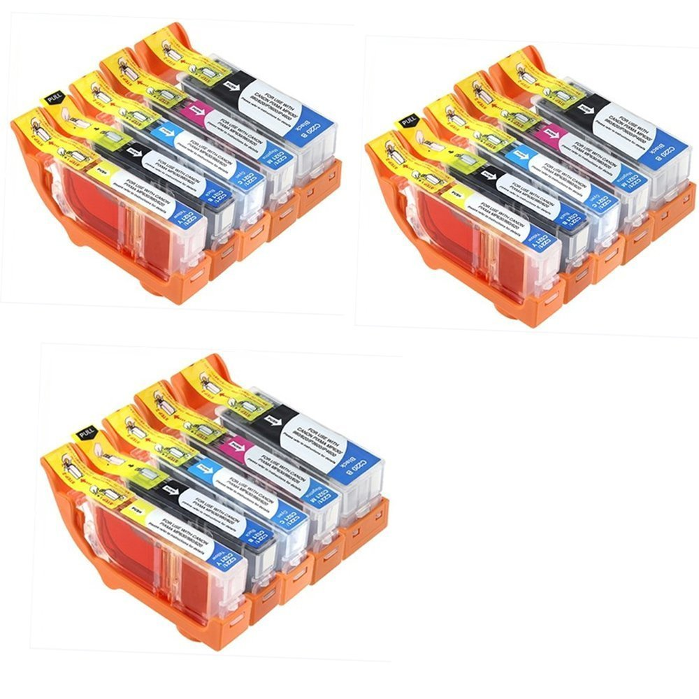YATUNINK 15 Pack Compatible Ink Cartridge Replacement for Canon PGI-220 and CLI-221 (3 Large Black C-220, 3 Small Black C-221, 3 Cyan, 3 Magenta, 3 Yellow)