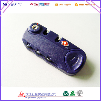 wholesale TSA travel plastic combination zipper luggage,suitcase lock