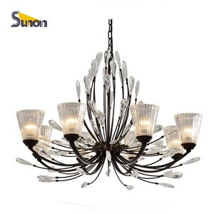 Modern style loft artistic giant cristal 8 light chandeliers lighting chinese egypt huge crystal chandelier for dining room