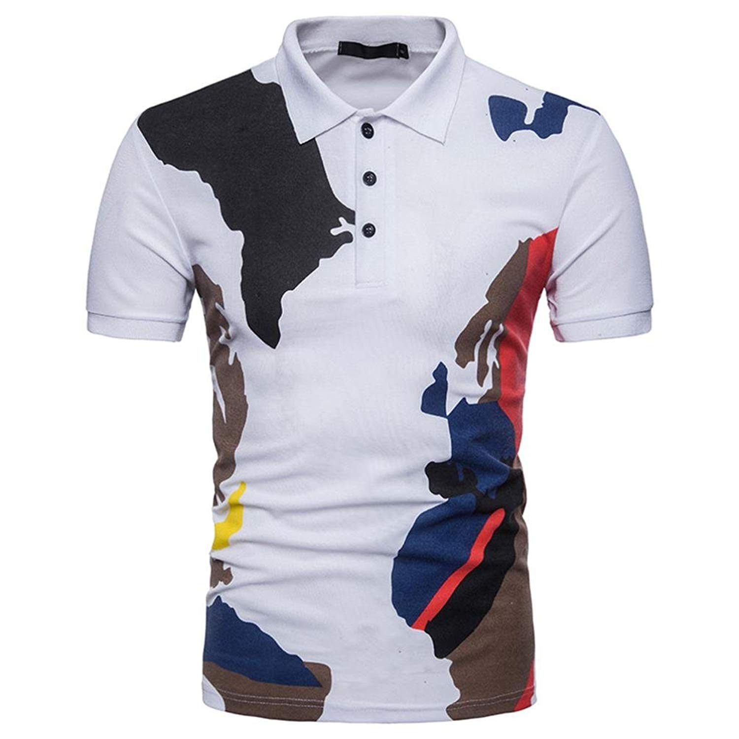 d22f70f3b64 Get Quotations · Challyhope Mens Button Color Block T-Shirt Short Sleeve  Slim Fit Casual Polo Shirt