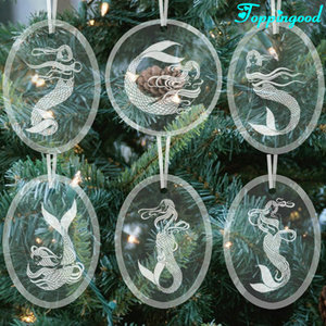 Various Mermaid Hanging Custom Acrylic Ornaments For Tree Decoration