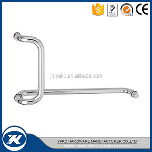Hot Sale Hotel Bathroom Shower Hardware Glass Cabinet Door Stainless Steel Satin Polish PB double sided Pull Tube Bar Handle