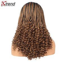 Xtrend плетеные парики, синтетические косички, парики для черных женщин, кружевные передние косички, парик, кудрявый конец, 20 дюймов, черный, ко...(Китай)
