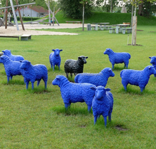 Colorful resin life size sheep for garden decoration