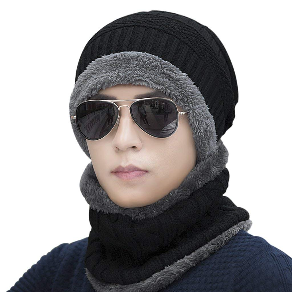 1ee2f8a000014 Get Quotations · Mens Winter Warm Knitted Hats Windproof Fleece Lined Neck  Ear Warmer Scarf Face Mask Cover Tuque