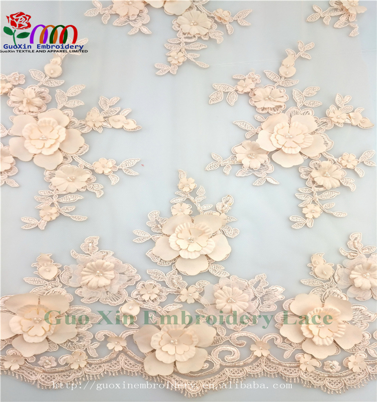 2017 ner fashion africa lace textile embroidery lace fabric with fiowers and beads GX026