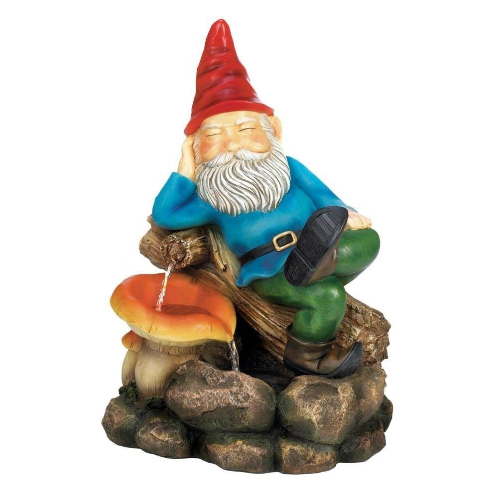 Outdoor Fountain, Relaxing Gnome With Mushroom Garden Water Pump Floor Fountain