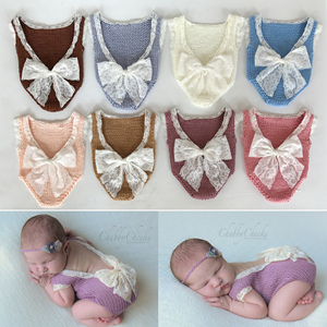 Lace Bow Baby Photography Props Crochet Knitted Newborn Lace Bodysuit Clothes Romper Fotografia Accessories