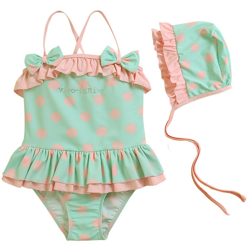 afa5a16bf40de New Arrival 2016 Hot Sale Infant Bathing Suits Cute Pink Polka Dot Swim Wear  Summer Style Baby Girls Swimming Suit with Hat