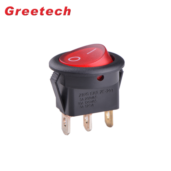 2018 Hot Selling 10A 250VAC Black 3 Pin With Neon Light for Coffee Machine Rocker Switch