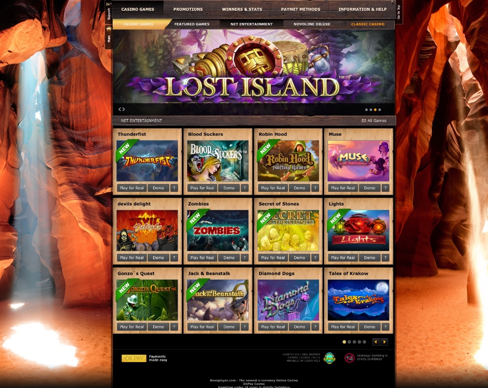 Full Online Casino, over 200 Slots incl. 3D Slots