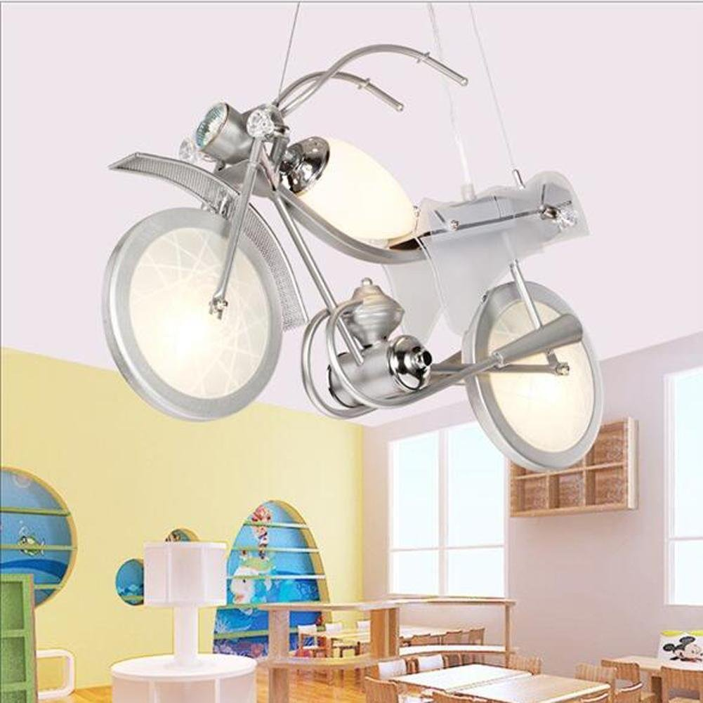 Wei-d Motorcycle Modeling Children Chandeliers LED Cartoon Lights Boys Bedroom Pendant Light Kindergarten Decorative Lights , White