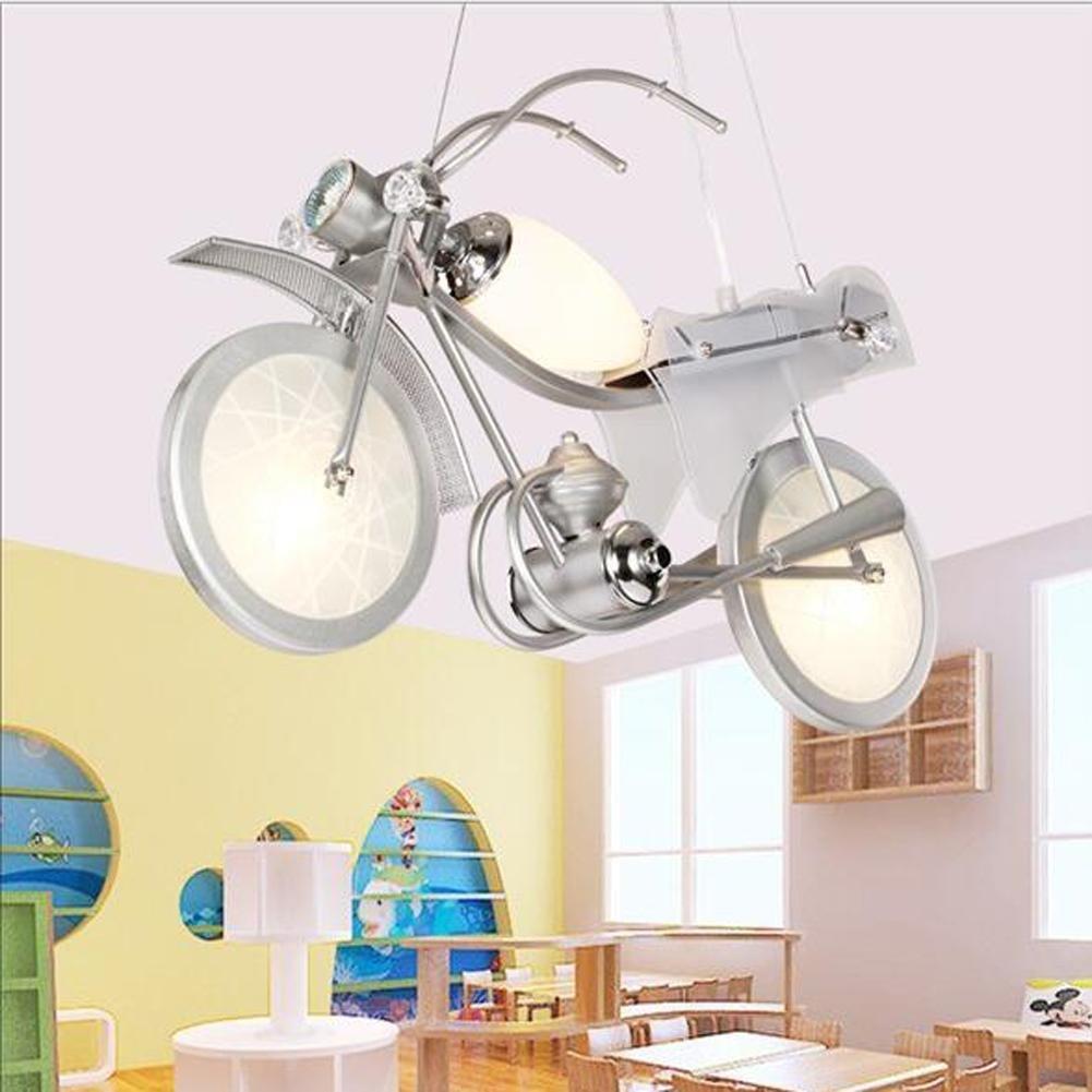 Motorcycle Modeling Children Chandeliers LED Cartoon Lights Boys Bedroom Pendant Light Kindergarten Decorative Lights, White