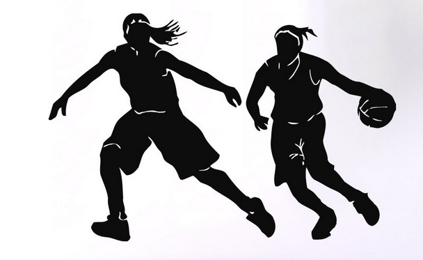 Basketball Vinyl Wall Decal  Basketball Player Design Sport Girls Running Mural Art Wall Sticker Bedroom Sport Home Decoration