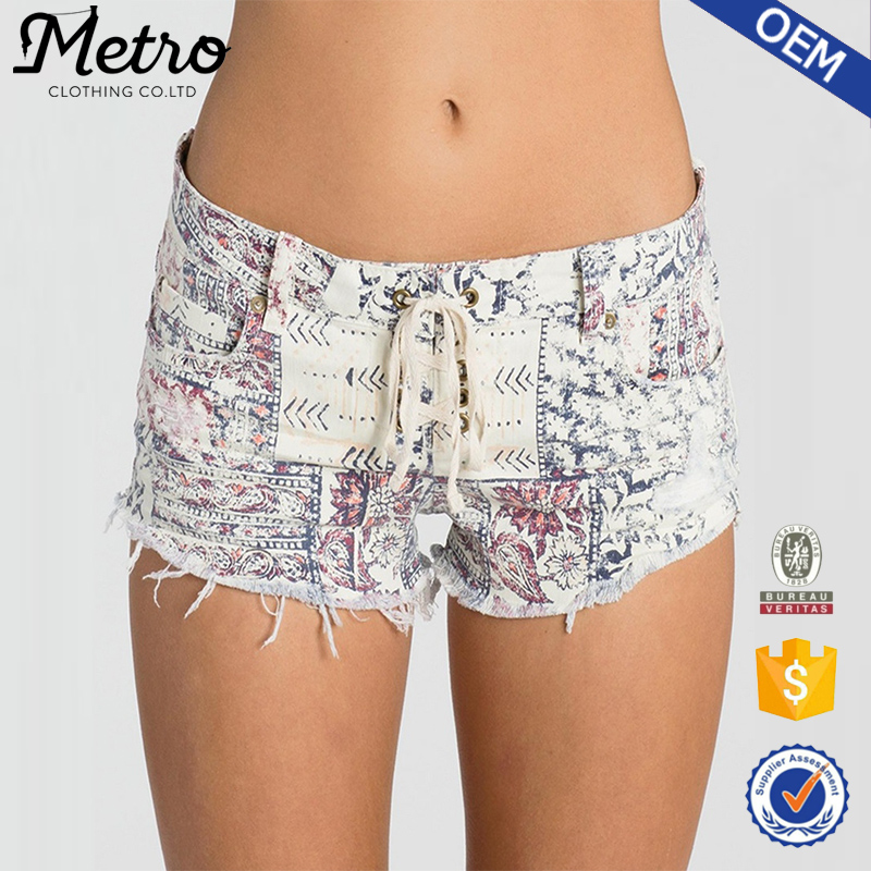 Oem Clothing Lace-up Front Printed Sexy Mini Denim Shorts