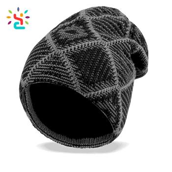c4f6d0ce008ab Manufacturer price NO brand foreign trade embroidery machine beanie pattern  stripe men knit hat Slouch Cool