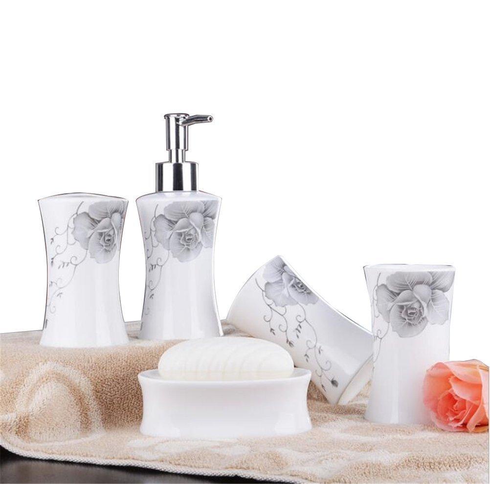 Buy JynXos Ceramic Bathroom 5 Pieces Set Supplies Solid Constricted ...