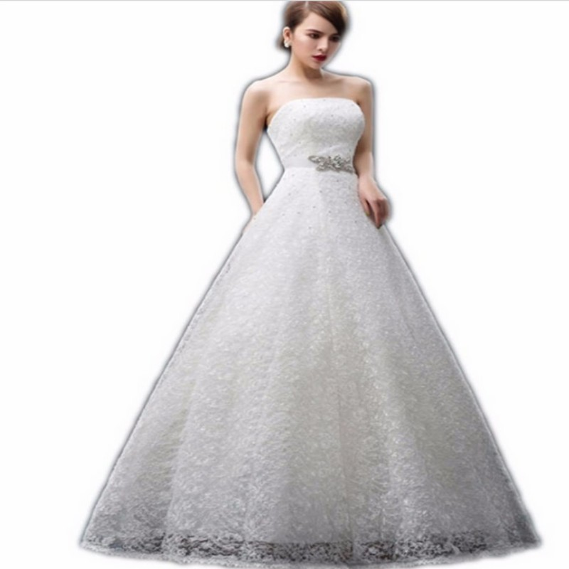 Charming White A Line Straplee Crystal Sash Lace Wedding Dress Lace Up Corset Bride Dresses Floor Length Long Wedding Gowns