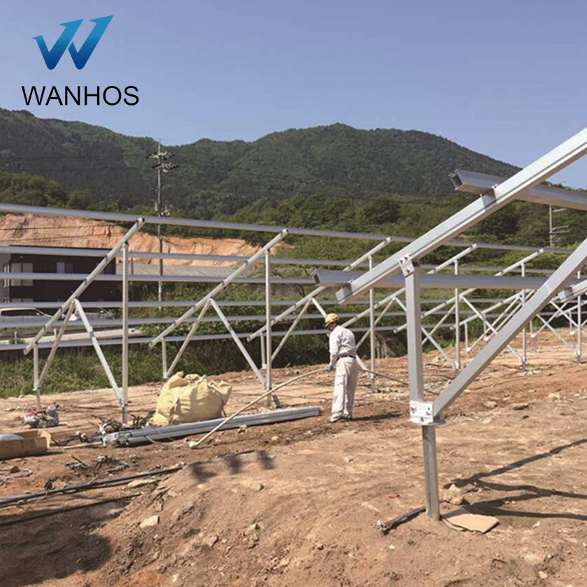 modern solar energy ground mounting system on the open fields, ground mounting system