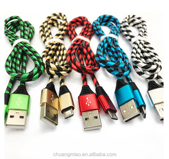 New 3ft 6ft 10ft Nylon Braided Mobile Phone Charger Cable for iPhone Android Type C
