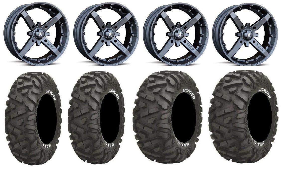 "Bundle - 9 Items: MSA Black Battle 14"" ATV Wheels 26"" BigHorn Tires [4x156 Bolt Pattern 3/8x24 Lug Kit]"