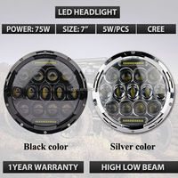 "Cr ee 75W LED headlight replacement for Hummer Camaro J e e p Wrangler with DRL, LED 7"" Round LED Replacement Headlamp"