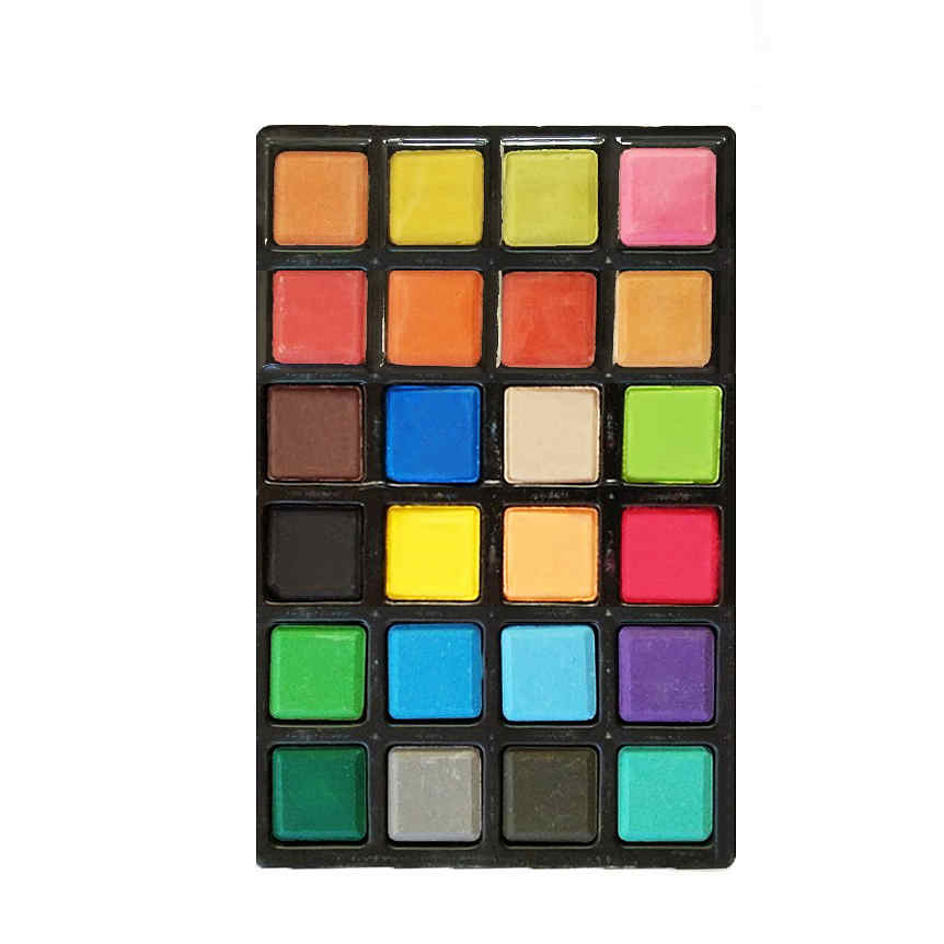 Bulk wholesale 24 color solid square tempera paint cakes