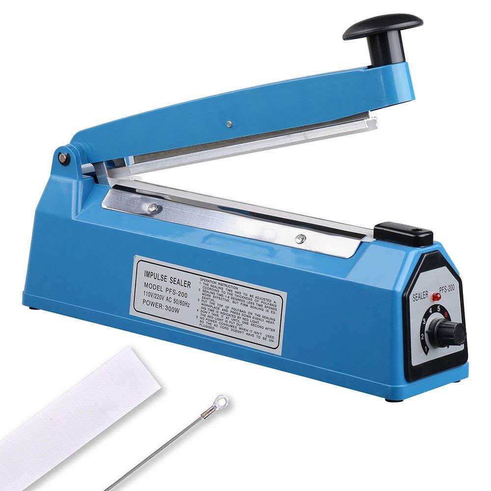 """200mm 8"""" Impulse Manual Hand Sealer Heat Sealing Machine Poly Tubing Plastic Bag"""